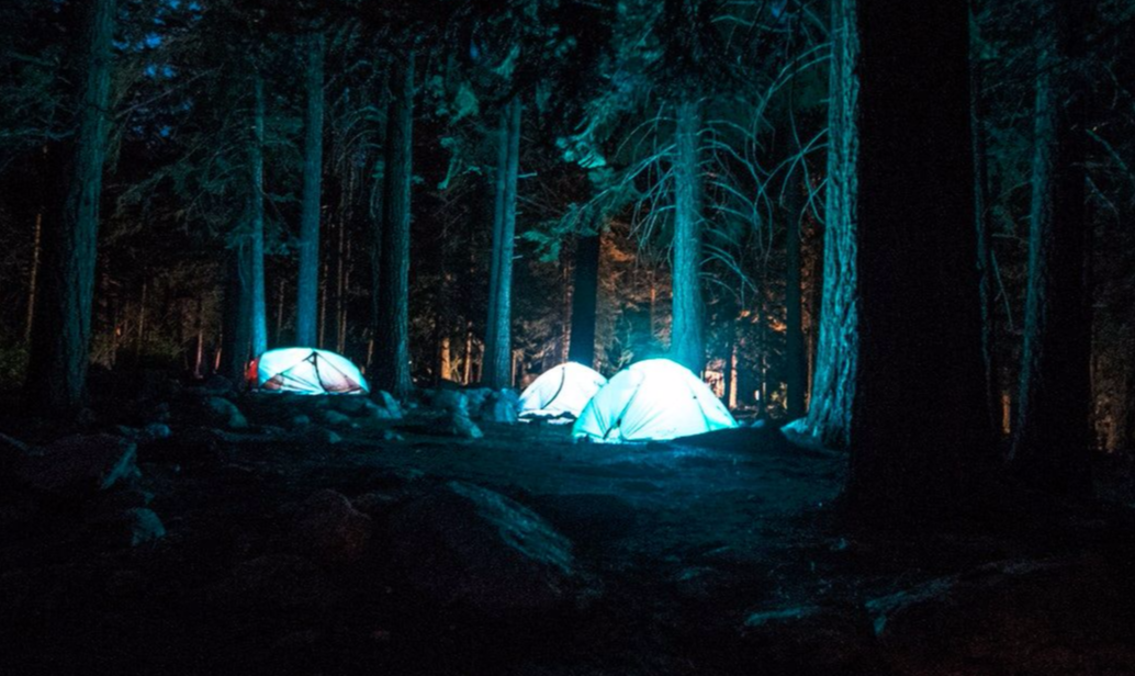 Tents camping on a lucid dream retreat